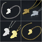 Unisex Africa Map Jewelry 18k Gold Plated Necklace African Country Pendant Chain