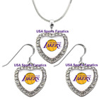 Los Angeles Lakers 925 Necklace / Earrings or Set Team Heart With Rhinestones on eBay