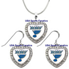 St. Louis Blues 925 Necklace / Earrings or Set Team Heart With Rhinestones