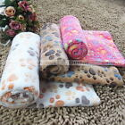 Warm Pet Blanket Dog Cat Soft Coral Fleece Paw Print Bed Mat