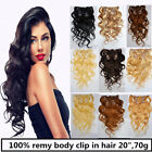 20 inch remy human hair body Wavy clip In Extensions 70g USA STOCK