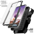 LG Stylo 4/5/3/2 Plus Belt Clip Stand Holster Case Cover BUILT SCREEN PROTECTOR