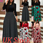 UK Womens Party Evening Boho Maxi Dress Ladies Holiday Long Sleeve Cocktail 6-18