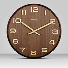 Large 14 Wooden Wall Clock Creative Round Home Decor Watch Modern Design Silent
