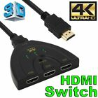 4K 1080P HDMI HDTV Auto Switch Switcher Selector Splitter Cable 3 Port IN 1 OUT