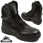 MENS GROUNDWORK LEATHER NON SAFETY BOOTS ARMY MILITARY POLICE COMBAT WORK SHOES