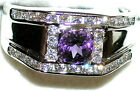 Men's Natural Amethyst & White Topaz Stainless Steel Ring  9W039