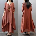 Vintage Women Boho Long Sleeve Cotton Linen Kaftan Maxi Irregular Dress N2F4