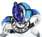 Marquise Tanzanite & Blue Fire Opal Inlay 925 Sterling Silver Ring size 6,7,8,9