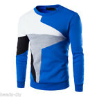 US New Autumn Men Stitching Casual Long Sleeve Pullover Sweater Sportswear Coat