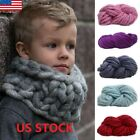 US Soft Warm Handmade Chunky Knit Blanket Thick Yarn Wool Bulky Knitted Throw image