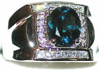 Men's Genuine London Blue & White Topaz 925 Stamped Sterling Silver Ring