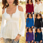 Women Long Bell Sleeve Tops Deep V Lace Up Casual Tunics Lace Crochet Blouse Tee