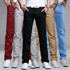 Mens Casual Pencil Dress Pants Skinny Slim Fit Straight-Leg