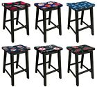 "WOOD BAR STOOL BLACK FINISH WITH MLB TEAM LOGO FABRIC 24"" OR 29"" TALL MAN CAVE on Ebay"