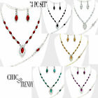 """MARQUISE """"3 PC SET"""" CRYSTAL PROM WEDDING FORMAL NECKLACE JEWELRY SET TRENDY F"""