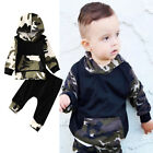 2PCS Toddler Baby Kids Boy Camo Hooded Tops Pants 2Pcs Outfits Set Clothes