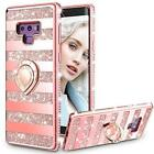For Galaxy Note 9 Case Heavy Duty Bumper Cover Full Body Bling Diamond Rose Gold