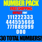 "Numbers Pack Decals Impact 3/4"" 1"" 1.5"" 2"" 2.5""  3"" Free Ship Stickers"