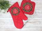 Personalized Monogram Christmas Red Oven Oven Mitt and Pot Holder  photo