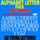 """Alphabet Letters Decals Times New Roman 3/4"""" To 5"""" Sizes Free Ship Stickers Pack"""
