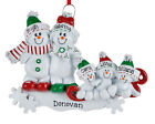 Внешний вид - NAME PERSONALIZED Snowman Sled Family of 2 3 4 5 Christmas Ornament Holiday Gift