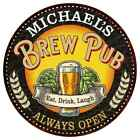MICHAEL'S Beer Pub Man Cave Metal Sign Home Decor Round 100140025420