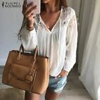 Women Casual Loose Patchwork Lace Crochet Blouses Sexy V Neck Long Sleeve Tops S