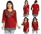 UK STOCK - WOMEN FASHION INDIAN KURTA KURTI TUNIC TOP SHIRT MI521 Maroon