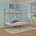 Triple Sleeper Bed Metal Bunk Bed Double Bed Single Bed Bedroom in White/Silver