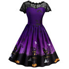 DE Damen Halloween Rockabilly Vintage Swing Partykleid Cocktailkleid Abendkleid