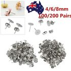 400pcs Earring Stud Posts 4mm/6mm/8mm Pads & Nut Backs Silvery Surgical Steel