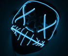 "Light Up Masks ""Stitches"" LED Costume Mask (Halloween Rave Cosplay Edm Purge) US"
