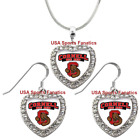 Cornell Big Red 925 Necklace or Earrings or Set Team Heart With Rhinestones