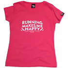 Running Tops T-Shirt Funny Novelty Womens tee TShirt - Running Makes Me Happy