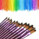Set of 12/24Flat/Tip Painting Brushes Artist Nylon Acrylic Oil Paint Drawing Art