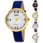 Women's Burgi BUR119 Diamond Markers MOP Dial Genuine Leather Strap Watch