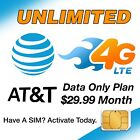 AT&amp;T Unlimited 4G LTE Data 29.99mo Sim Card &amp; Plan SetUp - HotSpot Tablet Phones <br/> No Limit Prepaid - Activate any new AT&amp;T SIM card Today