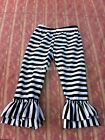 Girls Kids Ruffle Pants Leggings Black/White Stripe