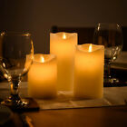 Christow Flameless LED Candles Real Wax Battery Powered Remote Control Pack Of 3