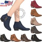 Внешний вид - Women's Chunky Booties Low Block Heels Ankle Boots Shoes Zip Casual Shoes