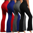 YOGA Fitness Foldover Pants Flare Leg Long Womens Athletic Workout Gym Trousers