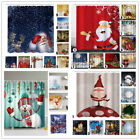 Christmas Home Shower Curtain Waterproof Bathroom Xmas Polyester 12 Hooks US