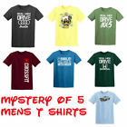 Pack of 5 Mens T Shirts Mystery Popular Designs Funny Gift Sale