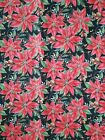 Cotton Fabric Christmas Festive Red Poinsettia Flowers Dark Green and Gold