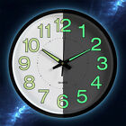 12'' Quartz Silent Wall Clock Glow In The Dark  Indoor/Outdoor White Noctilucent