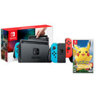 Nintendo Switch with Neon Blue and Neon Red Joy-Con + Pokemon Lets Go