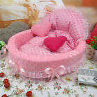 Pet Dog Cat Bow Bed Kennel Luxury Lace Princess House Cushion Winter Warmer Nest