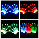 LED Flashing Gloves Glow 3 Mode Light Up Finger Tip Lighting Pair Rave Party NEW