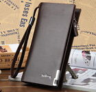 Men's Leather Bifold ID Card Holder Long Wallet Purse Checkbook Clutch Billfold image